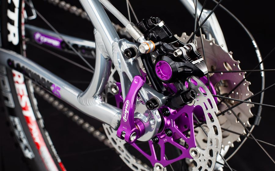 Purple caliper bore caps and rotor arms